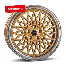 Borbet B gold rim polished R17 W7 PCD4x100 ET38 DIA64.1